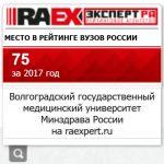 75е место ВолгГМУ в позициях рэнкинга RAEX (Эксперт РА) 2017