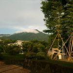Гора Китаяма в облаках